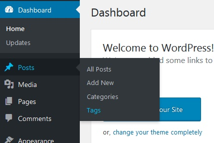 Wordpress menu: tags